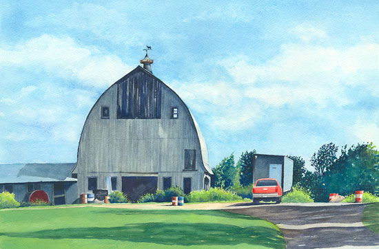 Barn With a Red Truck