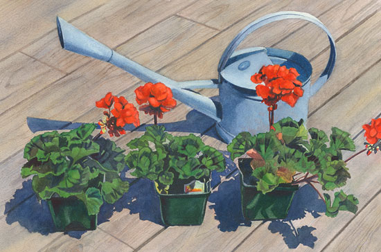 Watering Can with Red Geraniums
